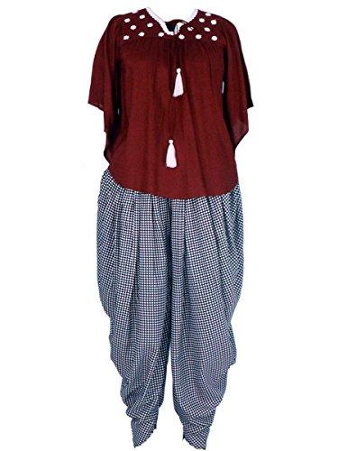 Patrorna Women's Cap Sleeve Empire Top And Dhoti Pant / Salwar Set (Size S-7XL)