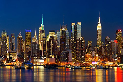 "Infrarotheizung Elegance - Glas mit silbernem Rahmen, 500 Watt, Motiv\""New York\"""