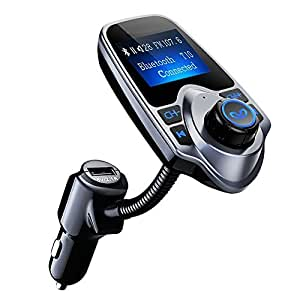 PICTEK [Upgraded Version] FM Transmitter, Bluetooth MP3 Player USB Car Charger Hands-Free Calling Wireless Radio Car Kit with 3.5mm Audio Port, TF Card Slot, 1.44 Inches Screen For iPhone HUAWEI ect.