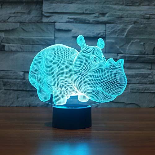 Orangeww 7 Farbe Meeresschildkröte Ändern Nachtlicht Sammeln / 3d Led Tisch Schreibtischlampe Cartoon Figur Kinder/Touch switch-Rhino