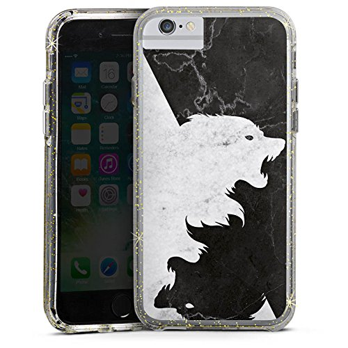 Apple iPhone X Bumper Hülle Bumper Case Glitzer Hülle Game Of Thrones Wolf Got Bumper Case Glitzer gold