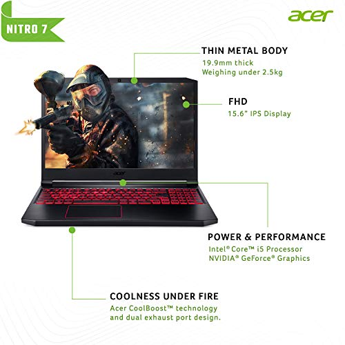 Acer Nitro 7 Intel Core i5-9300H Processor 15.6-inch Thin & Light Gaming 1920 X 1080 Laptop (8GB RAM/ 256GB SSD + 1TB HDD/ Win 10 / 4GB NVIDIA GeForce GTX 1650/Obsidian Black/ 2.5 kgs), AN715-51 Image 2