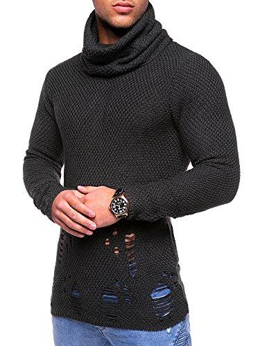 MT Styles Destroyed Pullover mit Rollkragen Strickpullover M-1002 Dunkelgrau