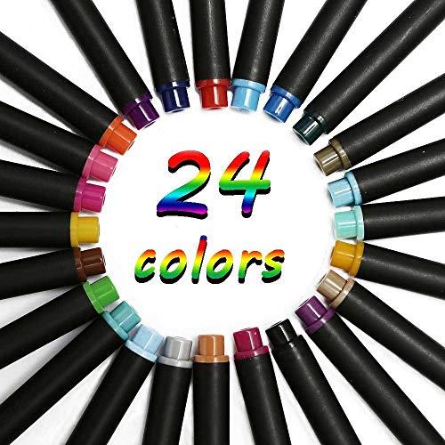 AOLVO Fineliner Farbstift-Set, feine Linien, zum Schreiben, Zeichnen von Tagebuch, Planer, Notizen, Malbuch, Poröse feine Spitze, Marker. 24 Colors (Zeichnen Tagebuch Schreiben Und)