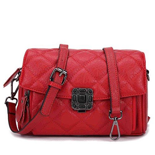 BAIGIO Borsa a Tracolla da Donna in Vera Pelle Handbag con Cerniera di Stile Moderno Borsa Messenger Borsetta Business Casual, Rosso