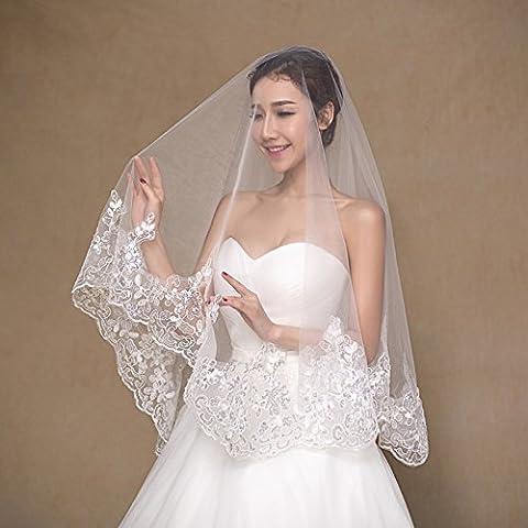 Suyu velo da sposa 1,5metri High paillettes pizzo Abito da sposa accessori lusso hand-single strato, Bianco latte, - Velo Abito