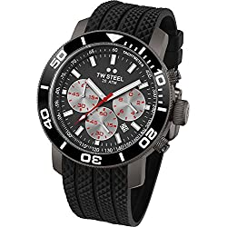 TW Steel Grandeur Diver Unisex Quartz Watch with Grey Dial Chronograph Display and Black Silicone Strap TW705