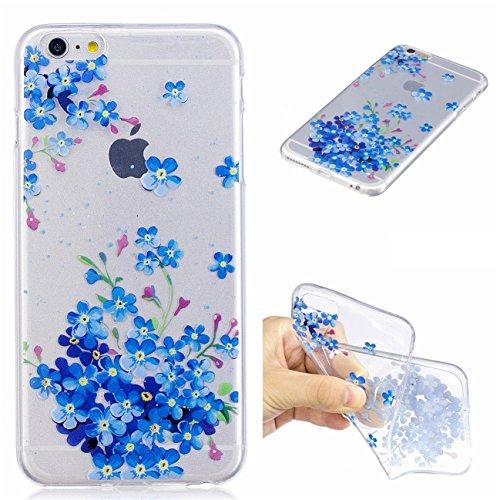 iPhone 6 Plus/6S Plus 5.5 Hülle, Voguecase Silikon Schutzhülle / Case / Cover / Hülle / TPU Gel Skin für Apple iPhone 6 Plus/6S Plus 5.5(Katzenbär 10) + Gratis Universal Eingabestift Blaue Blumen 12