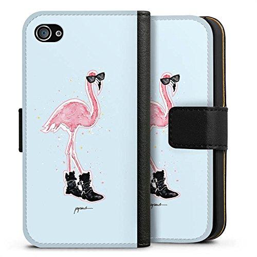 Apple iPhone X Silikon Hülle Case Schutzhülle Flamingo Cool Sonnenbrille Sideflip Tasche schwarz