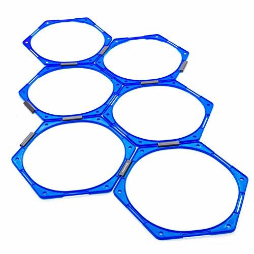 #DoYourFitness® Koordinationsgitter (ENGL. Agility Grid) : 6-eckiges Trainingsnetz mit Variabler Steckverbindung - ideal für Agility Training & Koordinationstraining : blau 6-eckig Floro