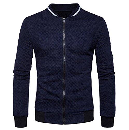 Ninasill Herren Jacke, ღ ღ Herbst & Winter Plaid Strickjacke Reißverschluss Sweatshirt Tops Coat Casual X-Large Navy