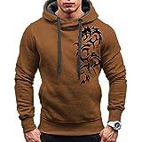 Herren Pullover Männer Zipper Kängurutasche Hoodie | Einfarbig Shirt | Kordelzug Oberteile | Mit Kapuze Tops | Basic T-Shirt | Slim Fit Sweatshirt | Mode Elegante Langarmshirt Blusen 2XL Coffee TP-51