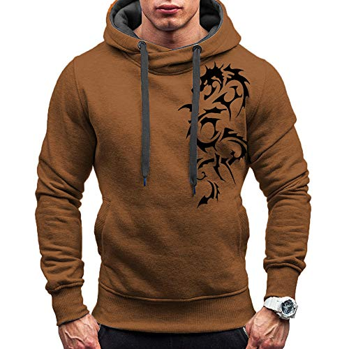 Xmiral Kapuzenpullover Herren Hoodie Pullover Mit Kapuze Cross-Over-Kragen Und Fleece-Innenseite Sweatjacke Pullover Hoodie Kapuzenjacke(a Kaffee,XL)
