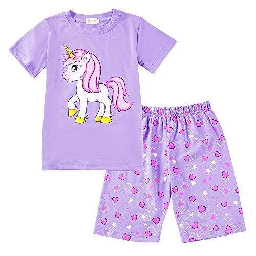 EULLA Mädchen Schlafanzug Kurz Einhorn Kinder Baumwolle Pyjama Schlafanzug Hosen Oberteile, 3-einhorn, 116(Herstellergröße:7T) (Mädchen Einhorn Für)