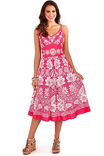 Damen Pistachio Sommer Punkte & Blumen Midi Baumwolle Strand Sommerkleid Rosa
