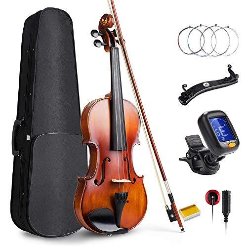 Vangoa violino 4/4concerto con custodia per violino, spalliera, colofonia e corde per violino per principianti adulti o bambini