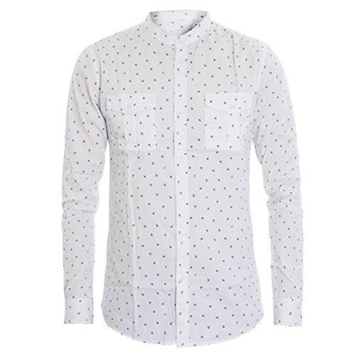 Giosal camicia uomo collo coreano stampa ancora micro motivi taschino slim c1364a-l