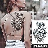 tzxdbh Schizzo Fiore Fiore Peonia Rosa Impermeabile Tatuaggio Adesivo Tatuaggi Neri Body Art Braccio Mano Ragazza Donna Tatuaggi Tatoo-in da 23-TH-481