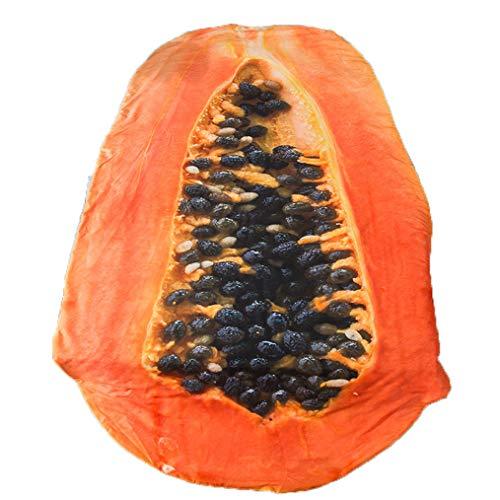 Seide Tröster-sets (Avocado Und Papaya Geformte Steppdecke Werfen Decke, 3D Einzigartige Fruchtdrucke Lustig Tröster Decke, Summer Lightweight Hypoallergene Mikrofaserbettwäsche Königin,Papaya,170×235cm)