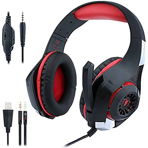Auriculares Para Juegos de PC PS4, ohCome 3.5 mm Gaming Headset con Micrófono USB LED Para PlayStation 4 / Nueva Xbox One / Ordenador Portátil / Tabletas iPhone Mac /, los Auriculares Splitter (Negro-rojo)
