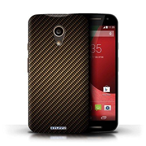 Kobalt® Imprimé Etui / Coque pour Motorola Moto G (2014) / Vert conception / Série Motif de Fibre de Carbone Or