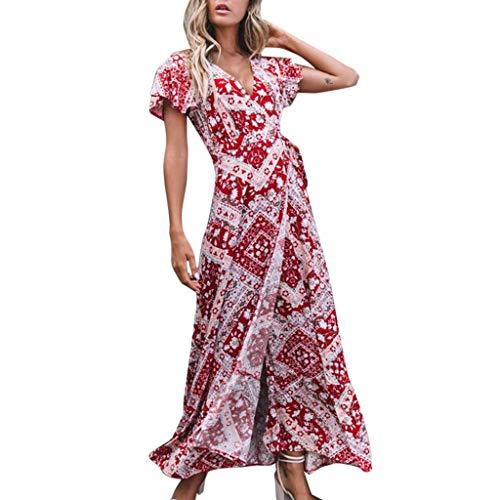 GOKOMO Kleider Boho Sommerkleid V-Ausschnitt Damen Vintage Strand Blumen Maxikleid Kurzarm Strandkleid Lang mit Schlitz(Rot,8,X-Large) - Leder-stirnband-spitze Verziert