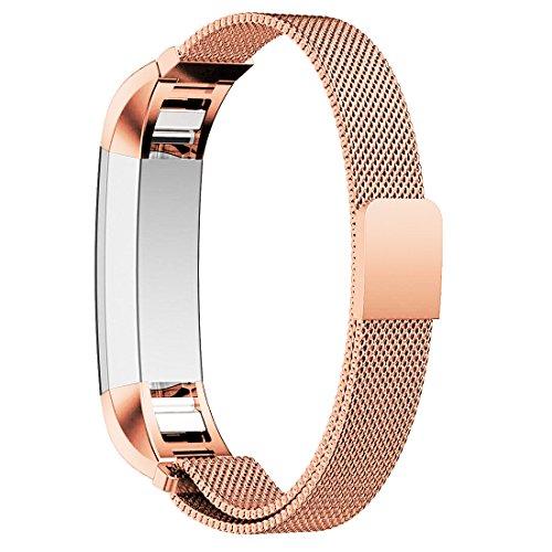 Hanlesi Armband für Fitbit Alta und Alta HR, Edelstahl magnetische Metall band milanese bracelet Sport Strap Fitness Wristband für Fitbit Alta und Alta HR-Rose gold