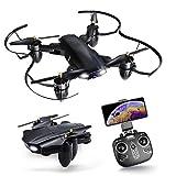 SQSAY Drone avec caméra, Arms Pliables RC hélicoptère avec HD Live Video WiFi...