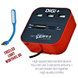 #3: DiGi+ All in one Combo Card Reader & 3 port USB 2.0 Hub - 2 year warranty, different color with free gift of LED light and tis for for Pen Drive/cameras/mobiles/PC/Laptop/Notebook/Tablet/or Docking Station/MP3s/PDAs