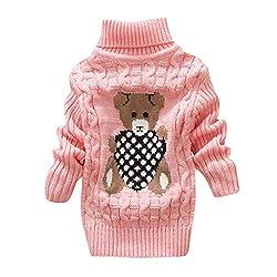 Livoral Kleinkind Kinder Baby Mädchen Jungen Bär Print Pullover Stricken Häkeln Tops Kleidung Outfits(A-Rosa,5-6 Jahre)