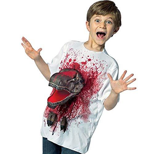 Rasta Imposa 3-D Attacks T-Rex Dinosaurier T-Shirt Fun Shirt Jungen Fasching Halloween Karneval Kostüm Top 7-10 Jahre (7-10 Jahre)