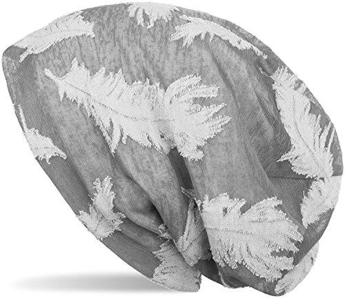 styleBREAKER Beanie Mütze mit gewebtem Feder Muster, Slouch Longbeanie, Unisex 04024130, - Aus Gestrickte Mütze Baumwolle
