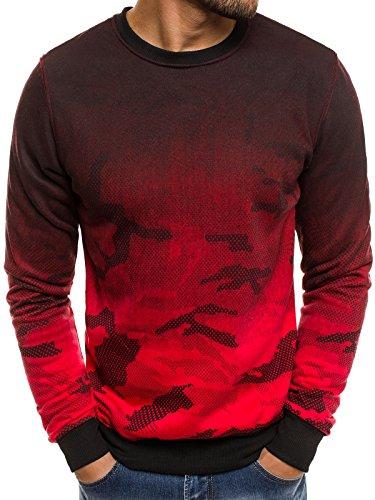 OZONEE Herren Sweatshirt Pullover Classic Motiv Rundhals-Ausschnitt J.Style DD132-20 M ROT