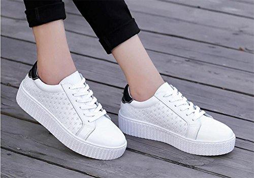 LDMB Beiläufige kleine weiße Schuhe der Frauen Dicker Boden mit flachen Ferselederschuhen White