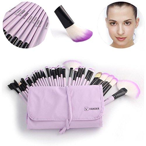 BZLine® Ensemble de Pinceau de Maquillage 32 Pcs + étui, pinceaux de Beauté Cosmetic Tools-Beginners, Pinceau de Contour des Yeux, Pinceau en Poudre (Violet)