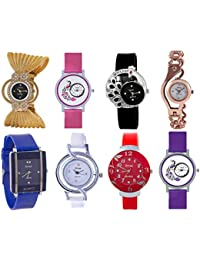 Shree Analogue Girls' Watch (Assorted Dial Assorted Colored Strap) (Pack of 8)