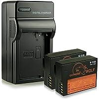 Cargador + 2x ExtremeWolf Batería DMW-BLC12 E para Panasonic Lumix DMC-FZ200 | DMC-FZ300 | DMC-FZ1000 | DMC-G5 | DMC-G6 | DMC-G70 | DMC-GH2 | DMC-GX8 | DMC-GH6