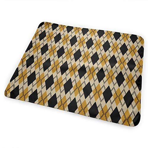 Black And Yellow Argyle Bed Pad Washable Waterproof Urine Pads for Baby Toddler Children and Adults 31.5 X 25.5 inch Argyle-shield