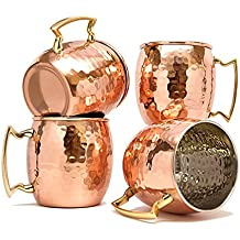 Dungri India Barrel Hammered Copper Moscow Mule Mug, 18 oz - Set of 4 - Handmade of 100% Pure Copper, Nickel Lined, Brass Handle