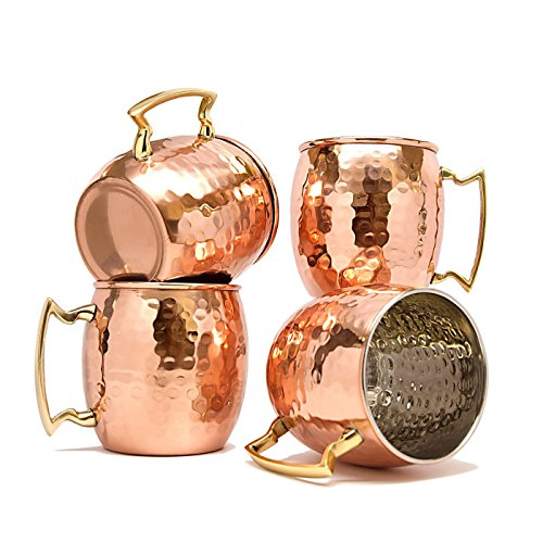 Dungri Indien High Quality Copper Moscow Mule Tasse Hammered Dutch Design lackiert, 4-er Set