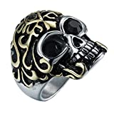 HIJONES Herren Edelstahl Halloween Biker Cz Augen Gold Überzogene Schädel Ring Schwarz Größe 57