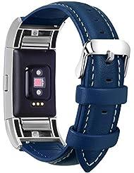 Fullmosa kompatibel Fitbit Charge 2 Armband, Axus Leder Ersatzband Uhrenarmband für Fitbit Charge2 mit Metallverschluss, Dunkelblau