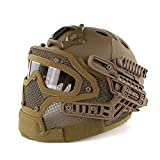 haoyk PJ tipo Tactical Airsoft casco Fast con gafas protectoras y máscara de cara completa de malla, canela