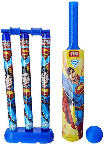 Superman Mini Cricket Set with 1 Plastic Bat and Ball, 3 Wickets, Base and Bail