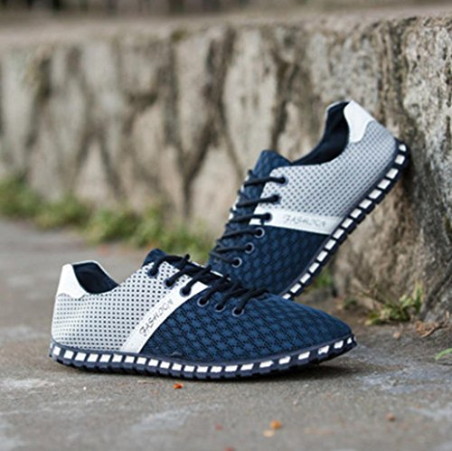 Chaussures Bateau Homme Ville respirables Sneakers, QinMM Basses Amortisseur Mesh Mode Mocassins Chaussures Baskets Plat Bleu