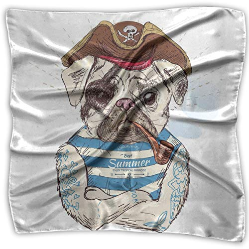 Unisex Bandana Head and Neck Tie Neckerchief Headdress Silk-Like,Pirate Pug Conqueror Of The Seas Pipe Skulls And Bones Hat Striped Sleeveless T-Shirt,Square Scarves Bandana Scarf