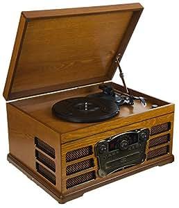 Platine Rétro en bois, 3 vitesse avec enregistreur, radio AM/FM lecteur de CD et interfaces USB et SD pour la lecture MP3 - (hêtre)