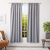 AmazonBasics - Barra para cortinas con remates con tapas, 91-182 cm, Níquel