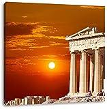 Tempel der Athene bei Sonnenuntergang, Format: 70x70 auf Leinwand, XXL riesige Bilder fertig gerahmt mit Keilrahmen, Kunstdruck auf Wandbild mit Rahmen, günstiger als Gemälde oder Ölbild, kein Poster oder Plakat