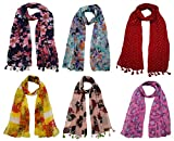 #3: FusFus Women's Printed Trendy Stoles, Free Size(Multicolour, F092) - Pack of 6